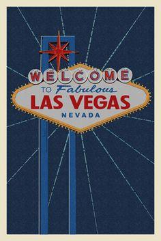 Welcome to Las Vegas Sign - Letterpress - Lantern Press Poster
