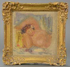 "PIERRE AUGUSTE RENOIR (1841-1919)  Endormie Femme Au Buste Nu  oil on artist board  signed lower right Renoir  4 1/4"" x 4 1/4""  Estimate: $15,000 - $25,000"