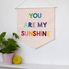 Are you interested in our you are my sunshine nursery banner flag? With our you are my sunshine wall banner for nursery you need look no further. Nursery Prints, Nursery Room, Nursery Wall Art, Girl Nursery, Girl Room, Rainbow Bedroom, Rainbow Nursery Decor, Nursery Banner, Rainbow Theme