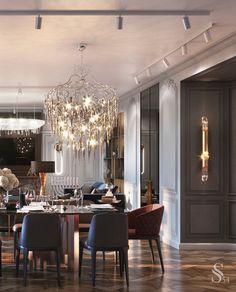 Table for 10 people is crowned by two chandeliers Brand van Egmond. ~ Стол на 10 персон венчают две люстры Brand van Egmond.