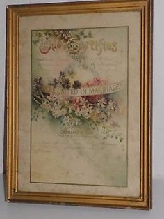 Collectible decorative antique framed 1915 Marriage Certificate.