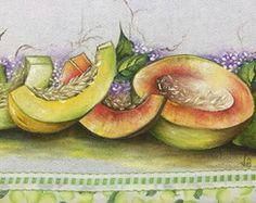 Pano de prato pintado à mão frutas