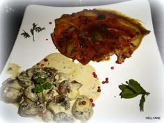 Tranche de Jambon en sauce brune, avec des champignons à la crème persillade