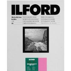 Ilford 1168109 Multigrade IV FB Fiber Based VC Variable Contrast Doubleweight Black White Enlarging Paper 25 Sheets Glossy Surface For Printing From