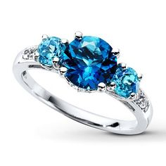 Diamond Rings : Natural Blue Topaz Ring Lab-created Sapphires Sterling Silver on Kay. - Buy Me Diamond Sapphire Jewelry, Diamond Jewelry, Gemstone Jewelry, Diamond Rings, Ruby Rings, Topaz Earrings, Silver Earrings, Blue Topaz Ring, Topaz Gemstone