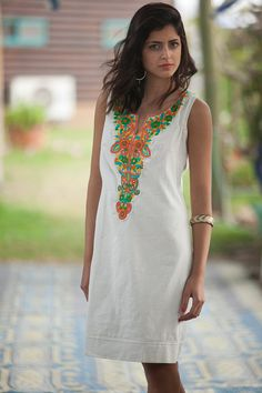 "Beige Short Tribal Summer Dress, Kaftan Dress, Off-white embroidered dress, White Moroccan Caftan, "" Emerald Dresses, Blue Dresses, Short Dresses, Moroccan Kaftan Dress, Bohemian Summer Dresses, White Embroidered Dress, Gypsy Style, Festival Outfits, Flower Dresses"