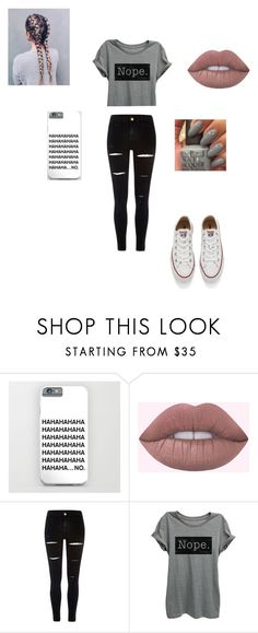 """Nope."" by aforehand ❤ liked on Polyvore featuring River Island, Thread Tank and Converse"