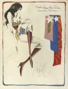 Original costume sketch for Wonder Woman TV series. Illustrator:Donfeld #art #sketch #fashion #illustration #notebook #wonder #woman #red #white Blue