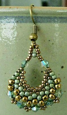 "SEMI-CIRCULAR EARRINGS   15/0 seed beads Miyuki ""Dark Bronze"" (457D)  11/0 seed beads Miyuki ""Dark Bronze"" (457D)  8/0 seed beads Miyuki..."