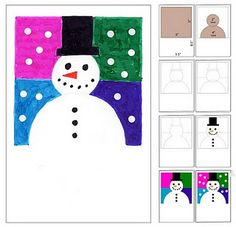 abstract snowman card -from art projects for kids