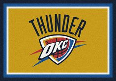 Oklahoma City Thunder area rugs. Give your kid's rooms a special theme with NBA rugs that display your favorite team's logo, mascots and insignias. These area rugs are not just for kids though. They have been built with heavy duty materials from Milliken to withstand constant traffic. All area rugs in the TeamMats collection are made of 100% nylon and are washable for easy cleaning. Get yours now from Floors To Go and pay with credit card or through your PayPal account.