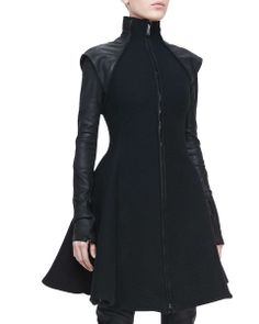 Gareth Pugh Flared Leather-Sleeve Coat