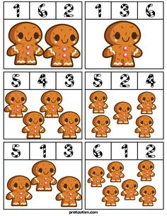 Gingerbread Man Counting Clip Cards - Activities For Toddlers With Autism Free Turkey Number Clip Cards Gingerbread Man Activities, Gingerbread Crafts, Christmas Gingerbread, Gingerbread Men, Preschool Christmas, Christmas Activities, Preschool Crafts, Christmas Crafts, Autism Activities