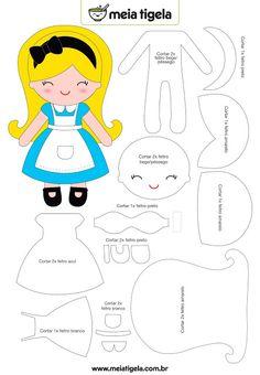 Molde Alice no País das Maravilhas #artesanato #feltro #pap #molde…
