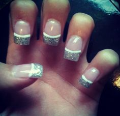 Glitter French tip with white lining Glitter French Tips, French Tip Nails, Nail Tips, Glitter Nails, Hair Beauty, Glittery Nails, Cute Hair