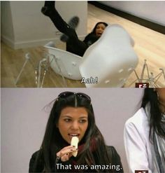 And had this reaction to Kim falling off her chair. | 26 Times Kim Kardashian Was Shut Down By Her Own Family
