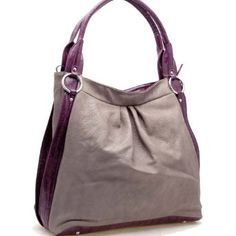 Designer Inspired Synthetic Leather Soft hobo bag trimed with shiny croco - Grey / Purple,