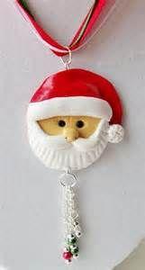 Polymer Clay Santa Claus Necklace