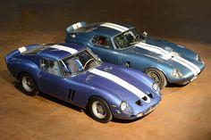 Ferrari 250 GTO (1962 - 1964, 39 built) vs Daytona Coupe (1964 - 1965, 6 built) Sports Car Racing, Sport Cars, Race Cars, Shelby Daytona, Shelby Car, Ferrari 250 Gto, Carroll Shelby, Pretty Cars, Ford Motor Company