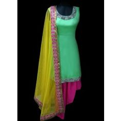 Pink and Mint Green Patiala Suit