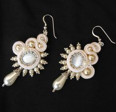 Soutache bridal earrings in White, Cream and Silver.