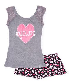Loving this Charcoal Heather Heart Top & Shorts Pajama Set on #zulily! #zulilyfinds