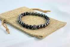 Men's Hematite, Black Onyx and Crystal Pave Bracelet