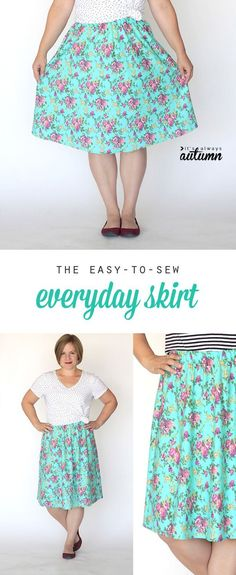this easy women's DIY skirt only takes 1 yard of fabric and an hour to make! great sewing tutorial. If you love to sew your own clothes, you'll love http://www.sewinlove.com.au/tag/free-sewing-pattern/