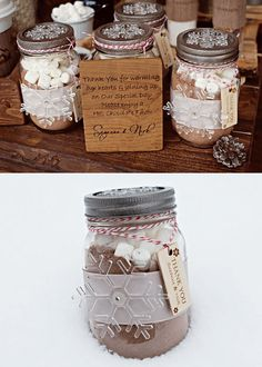 cute idea - hot chocolate mason jar wedding favors for a winter theme ;for the summer, maybe a lemonade mix with sour patch candies,with switzer stix on side?