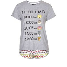 TopShop Emoticons to Do List Pj Set (£22) ❤ liked on Polyvore featuring intimates, sleepwear, pajamas, grey, cotton pajama set, cotton jersey, cotton pajamas, topshop and cotton sleepwear