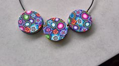 Reversible polymer clay necklace. Front