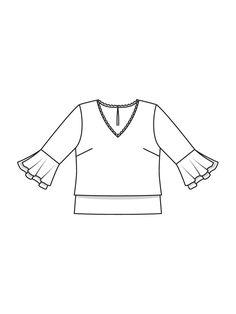 Блузка прямого кроя - выкройка № 111 B из журнала 10/2017 Burda – выкройки блузок на Burdastyle.ru
