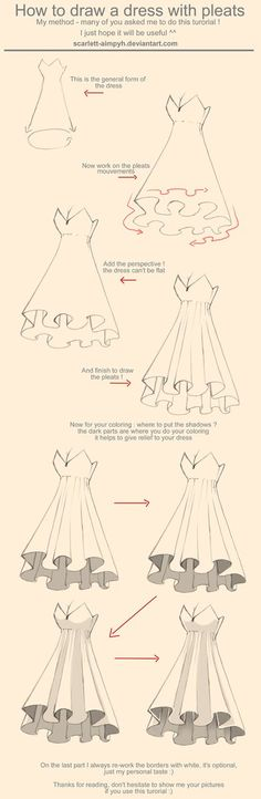 How to draw a dress with pleats tutorial