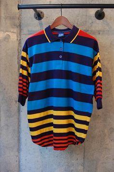 "1990s ""Ocean Pacific"" Border Polo Shirt Dolman Sleeve Made In USA From FIFTY-FIFTY 高円寺 http://f-f-koenji.tumblr.com/ #古着"