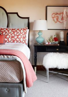 Grey And Coral Are A Fantastic Color Scheme Soft And Calm Suitable For Any Modern Interior And Also For Beach Houses Its Great For Bedrooms Bathrooms