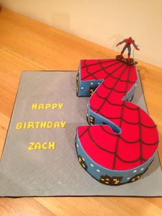Spiderman cake with number 3 Cakes I have made or helped making