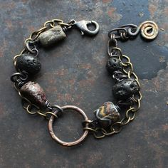 Rustic amulet bracelet double chain bracelet antique by solekoru