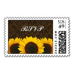 Sunflowers Brown Damask Wedding RSVP Stamp. This is a fully customizable business card and available on several paper types for your needs. You can upload your own image or use the image as is. Just click this template to get started!