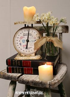 a lovely compact rustic vignette on a stool - by Gypsy Farm Girl