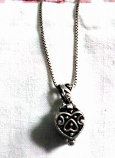 NECKLACE - PRAYER PILL Box - Heart - Scroll  - Ornate  -  Sterling Silver - Estate Sale -   18 inch  chain necklace213 by MOONCHILD111 on Etsy