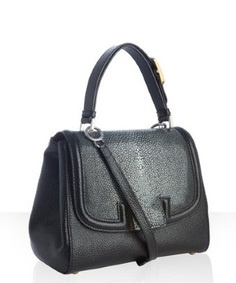 Fendi black leather and stingray 'Silvana' flap crossbody bag