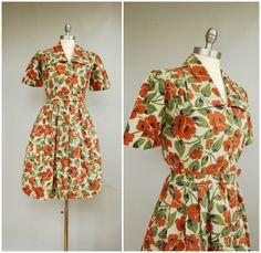 Poppy Field Dress • 1940s Cotton Day Dress by PublicDoveVintage on Etsy https://www.etsy.com/listing/231525231/poppy-field-dress-1940s-cotton-day-dress