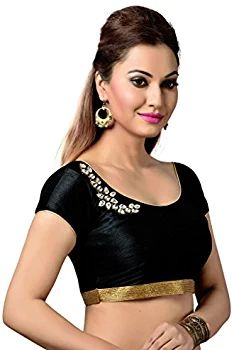 77657f6bcb2 Studio Shringaar Black Faux Silk Crystal Embroidery Blouse  Amazon.in   Clothing   Accessories