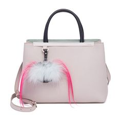 "2jours fur-detail leather shopper by Fendi. Plush fur bag bug playfully details leather shopper. Double top handles, 4"" drop. Adjustable shoulder strap, 21""-25"" drop. Snap closure. Protective metal feet. Two inside zip pockets. Fully lined. Includes dust bag and authenticity card.... #fendi #bags"