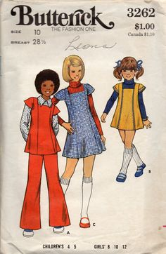 1970s Simplicity 8943 Girls Jumper Smock and Pants by mbchills vintage 70s sewing pattern