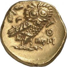 Statere - oro - Atene, Attica (295-294 a.C.) - AΘE la civetta vs. dx. su un ramo di ulivo - Münzkabinett Berlin
