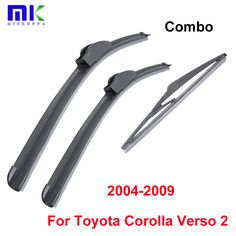 Combo Front And Rear Wiper Blades For Toyota Corolla Verso 2 2004-2009 Silicone Rubber Windscreen Wipers Auto Car Accessories