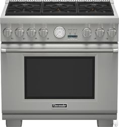 """Thermador PRG366JG 36"""" Pro-Style Gas Range with 6 Sealed Burners, 5.5 cu. ft. Convection Oven, 22,000 BTU Power Burner, ExtraLow Simmer Burners, Telescopic Racks and Self-Cleaning Mode: Natural Gas"""