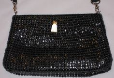 1980s Black Metal Mesh Shoulder Bag Free Shippping by GoodBuyForNow on Etsy