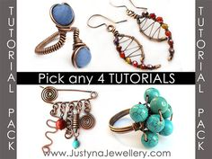 Jewelry Tutorial Sale Pack, Wire Wrapping Tutorial, Ring Tutorial, Earrings Tutorial, Bracelet Tutorial, Pendant Tutorial, Free Tutorial